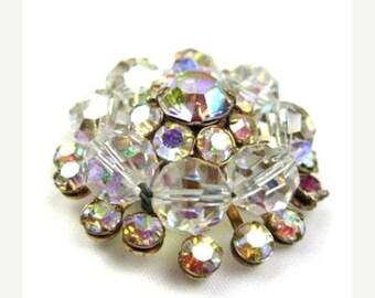 Rhinestone Brooch 1930s Aurora Borealis Vintage Jewelry Repair SUMMERSALE