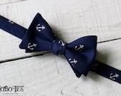 Navy Anchor Bow Tie~Mens Self Tie Bow Tie~Mens Pre-Tied~Anniversary Gift~Wedding Tie~Cotton Bow Tie~Nautical Tie~Anchor Tie~Anchor Bow Tie