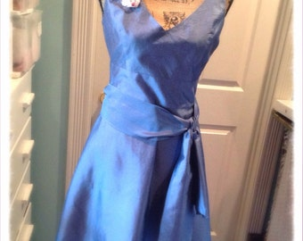 Bridesmaid Dress Wedding Embellished Altered Shabby Chic Pure Silk Steel Blue Cocktail Adjustable Womens 8