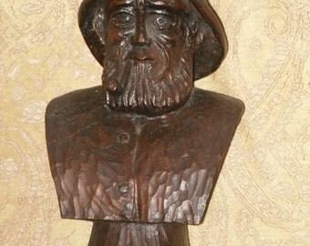 Hand Carved Wood Bust Old Man Sea Captain Vintage
