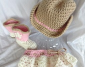 Crochet Baby Girl Cowgirl Hat, Booties and Diaper Cover Set