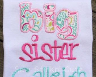 Personalized Appliqued/Embroidered Big Sister/Little sister shirt