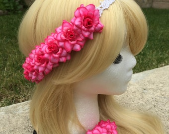 Pre-Order Neon Pink Rose Pearl Band Goddess Flower Crown Headband