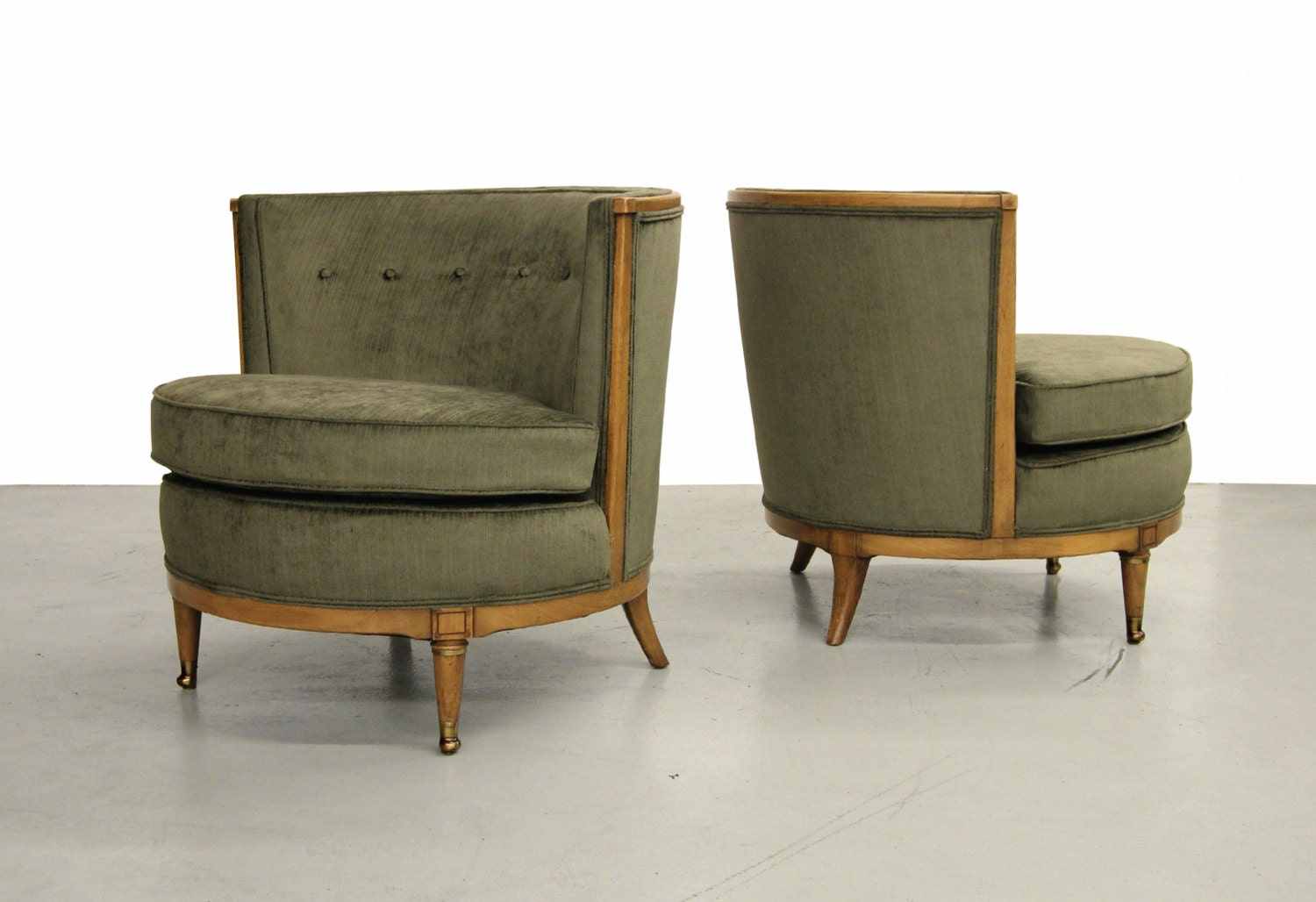 Pair Of Mid Century Barrel Back Club Lounge Chairs By