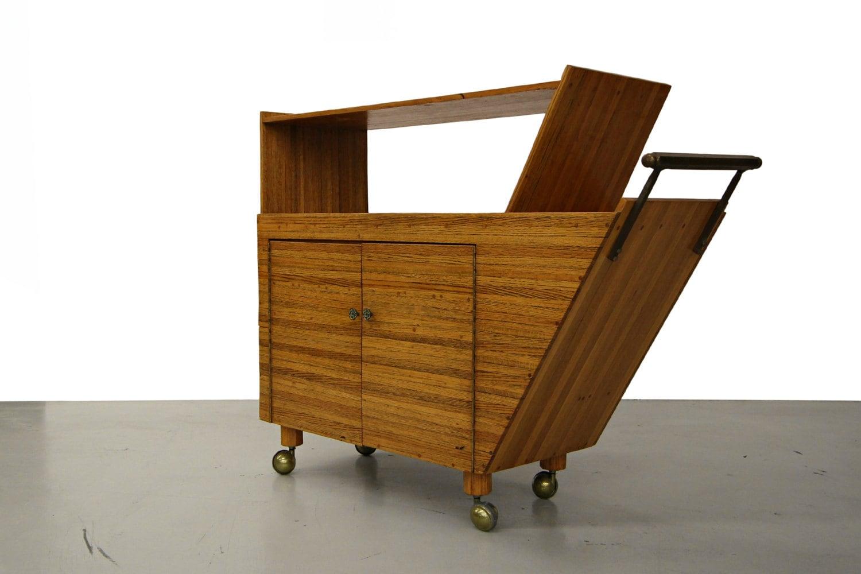 Oak Rolling Cart ~ Handcrafted mid century rolling oak bar cart with brass