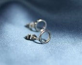 Small silver circle earrings