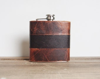 Rust & Peat || Custom Leather Flask - Rugged Strips, genuine leather,  personalized leather flask