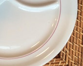 Shenango China Grill Plate with Single Red Stripe, ca, 1960s