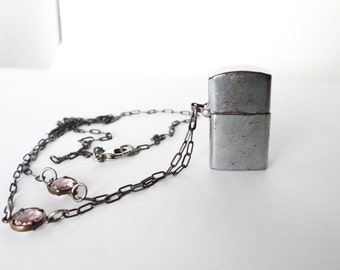Vintage Lighter Necklace Handmade Silver Chain Glass Bead Working Condition One of a Kind