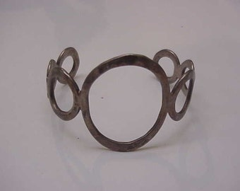Vintage Estate Open  Handwrought Sterling Silver Wide Bangle Bracelet With Circles, 1930s