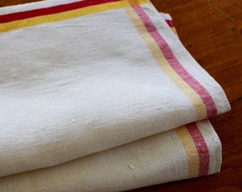 Vintage Linen Towel Red Yellow Stripe Dishtowel Dish Kitchen Unused