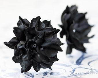 Black hair flower, Floral hair accessories, Retro flower, Hair accessories 20s, Hair pins flowers, Hair clips flowers, Flower barettes.