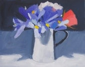 Spring Flowers with Irises, Still Life Painting, Original Oil painting on FLAT canvas board,  8x10 inch Canadian Fine Art