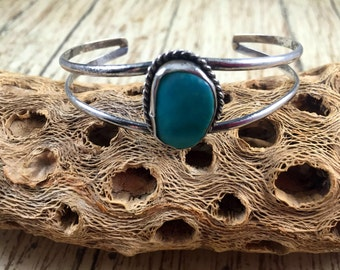 Vintage Turquoise and Sterling Silver Cuff Bracelet   Native American Turquoise Bracelet