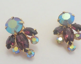 Vintage Clip On Purple and Blue Rhinestone Beaujewel Earrings