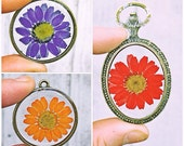 Genuine Dried, Pressed + Dyed Daisy Pendant Necklace. Enclosed + Preserved in Resin, choice of necklace chain length. Nature Inspired.