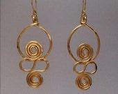 African Inspired Gold Swirl Earrings