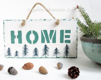 HOME WALL PLAQUE, Freehand Painted Pine Trees with Stenciled Lettering on Cedar Wood, Green White Hand Painted Sign, Simple Swedish Style