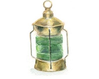 Watercolor Ships Lantern Green, Green Ships Light