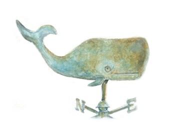Watercolor Whale Wind Vane, Whale Wind Vane Print