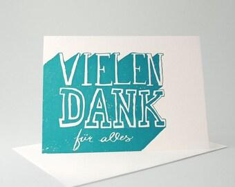 Letterpress VIELEN DANK - Grusskart