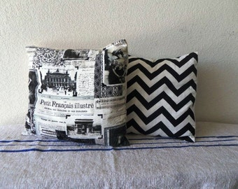 Zig Zag Pillow Cover - Black and White print 13 x 13 inch