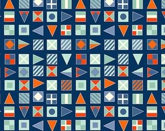 Flags in Blue - Nautical - The Henley Studio - Makower UK - Andover Fabrics - 1 Yard