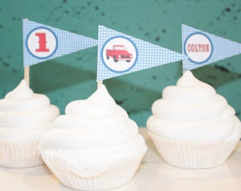 GINGHAM VINTAGE TRUCK  Happy Birthday or Baby Shower Pennant Cupcake Toppers - Party Packs Available