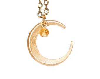 Vintage Brass Crescent Moon Necklace with Faceted Gold Bead