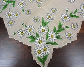 Vintage Daisies Handkerchief - Cotton with Taupe Background - Shaped