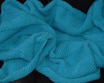 Large Crocheted Ripple Afghan in Turquoise