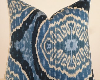 Duralee -  Decorative Pillow Cover * Masala Denim * Blue Navy * IKAT Design * Accent Sofa Pillow