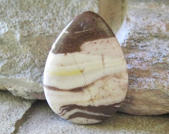 Cream Brown Zebra Jasper Teardrop Focal Pendant Bead 30 mm x 40 mm 003