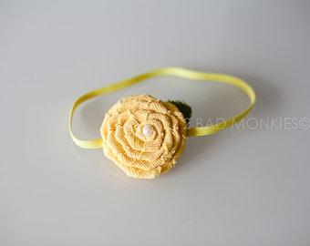 Yellow headband, Yellow baby headband, newborn headband, Easter headband, baby headband, baby girl headband, newborn Photo Prop