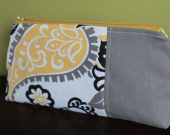Makeup bag- Grey-Yellow