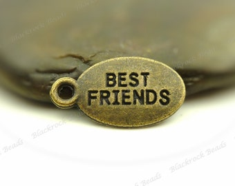 Bulk 24 Best Friends Message Charms Antique Bronze Tone Metal - 18x10mm - Oval Tag Charms, Word Pendants - BF31