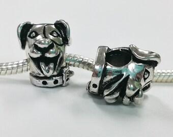 3 Beads - Smiling Dog Head Animal Silver European Bead Charm E1434