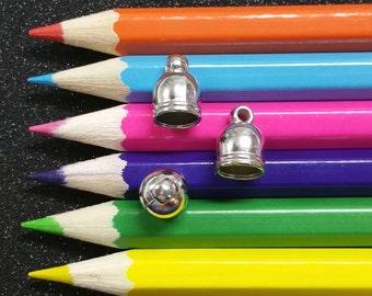 20 PCS - Glue End Cap Clasp Finding Silver C0906