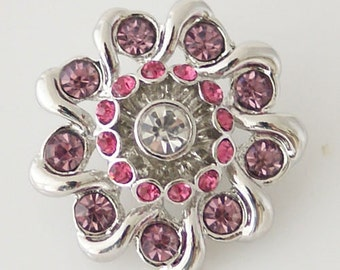 1 PC XL Fits 18MM Pink Flower Rhinestones Silver Candy Snap Charm Kb7081 Cc0635