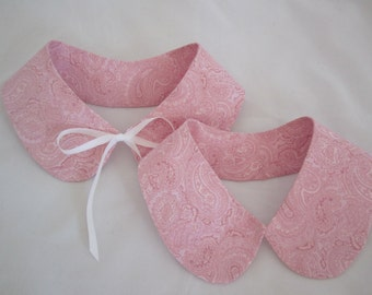 Cotton collars removable pink paisley with choice of hooks or satin ties two sizes RTS