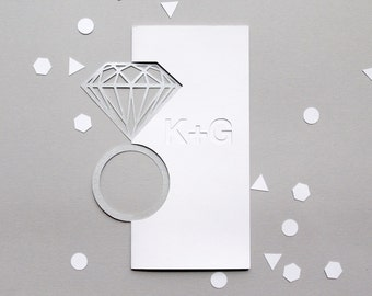 Engagement Card - Personalised Papercut Diamond Ring Card