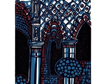 Alhambra Arches Linocut Hand Pulled Original Relief Print Variable Edition of 15