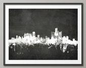 Detroit Skyline, Detroit Michigan Cityscape Art Print (1907)