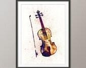 Violin Abstract Watercolor Music Instrument Art Print (1989)