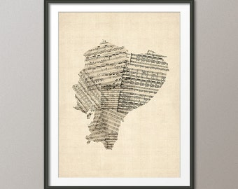 Ecuador Map, Old Sheet Music Map of Ecuador, Art Print (1975)