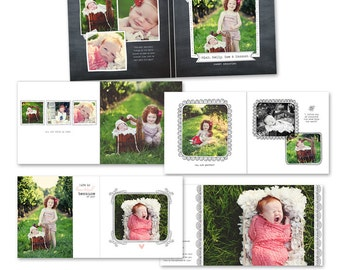12x12 Album template for photographers - Blooming Album - E462