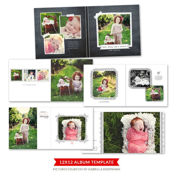 12x12 Album template for photographers - Blooming Album - E462