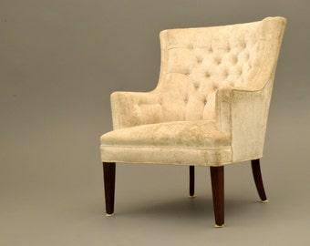 Hollywood Regency  vintage slipper lounge chair  VELVET CREAM