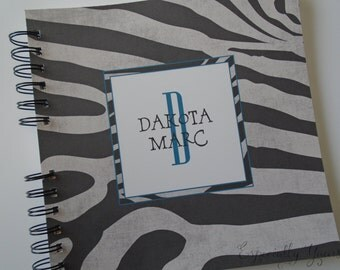 Baby Book |  Baby Memory Album | Zebra Print Black Grey Blue Personalized Wire Bound Baby Memory Book Keepsake Album