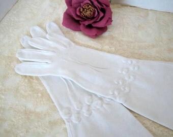White Gloves - Mid Arm - Flared Wrist - White Wedding - size 7
